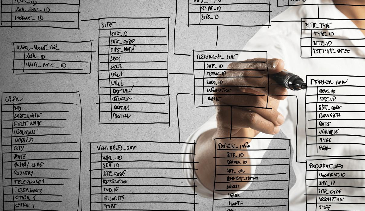 Graphdatenbank wird anhand einer gezeichneten Datenbank auf der Wand veranschaulicht; Mann schreibt mit Edding an die Wand