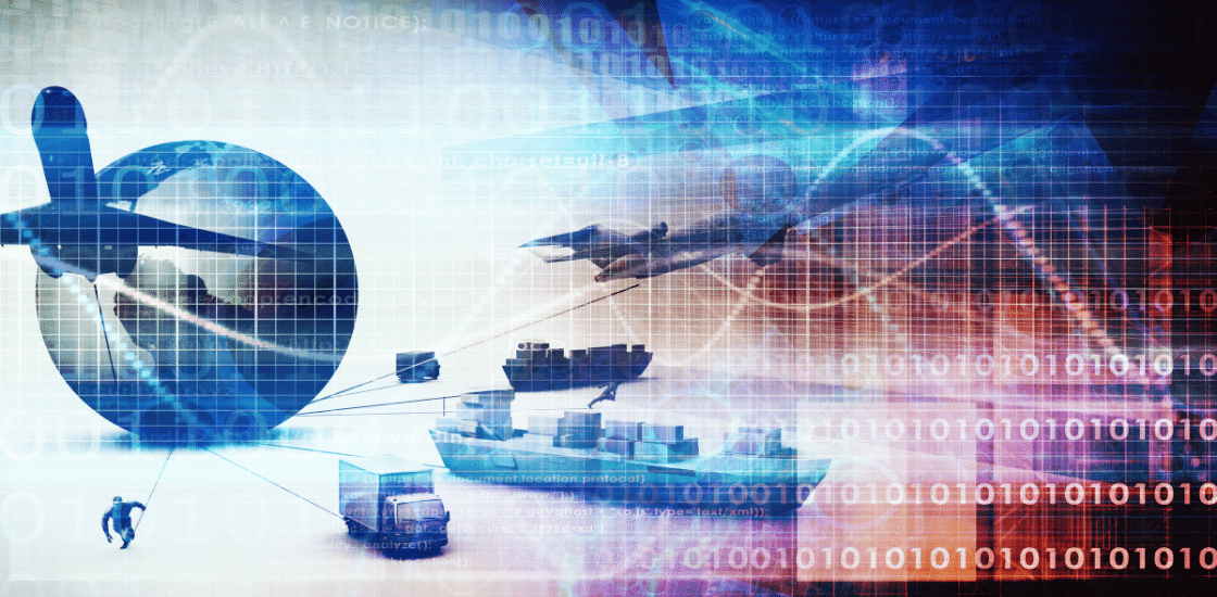 Flugzeug, Schiff, Mensch und Fahrzeuge ziehen eine Weltkugel - Lieferkettengesetz